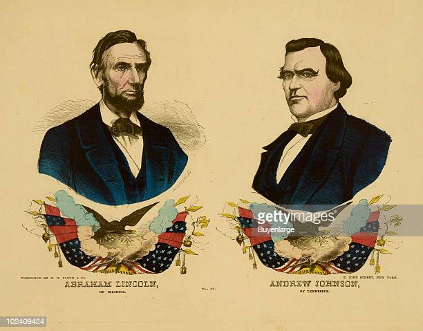 Portrait of Abraham Lincoln and his vice-presidential running mate Andrew Johnson of Tennessee, published by H.H. Lloyd & Company, NY, ca.1864.