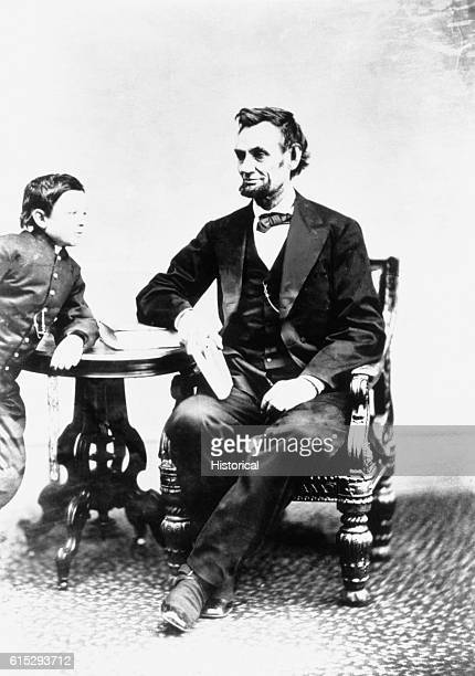 A portrait of Abraham Lincoln and one of his two younger sons probably Thomas Lincoln's oldest son Robert survived into old age but his other two...