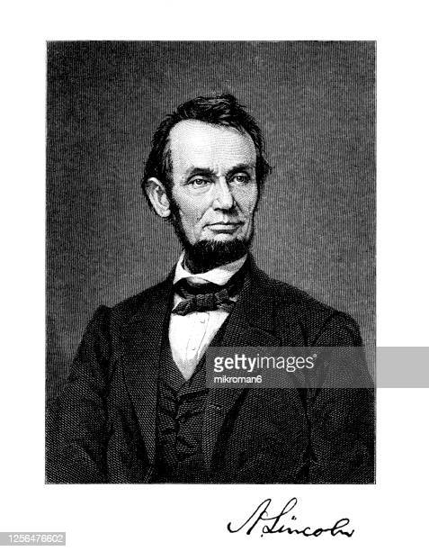 portrait of abraham lincoln, the 16th president of the united states. - abraham lincoln stock pictures, royalty-free photos & images