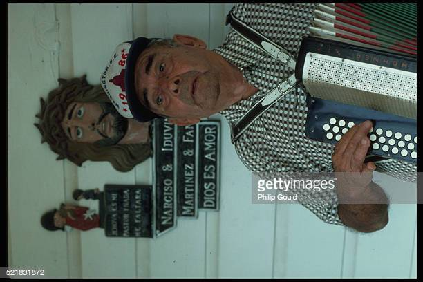 portrait of accordion player - accordionist stock pictures, royalty-free photos & images