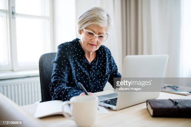 A portrait of active senior woman with laptop working in home office.