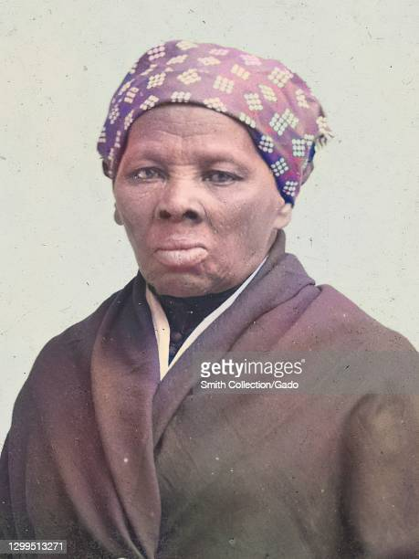 Portrait of activist and abolitionist Harriet Tubman, half length, 1895. Note: Image has been digitally colorized using a modern process. Colors may...