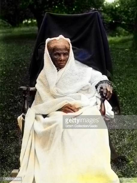 Portrait of activist Harriet Tubman late in life Auburn New York 1911 Courtesy Library of Congress Note Image has been digitally colorized using a...