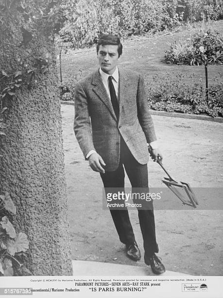 Portrait of actor Alain Delon in a scene from the movie 'Is Paris Burning' 1966