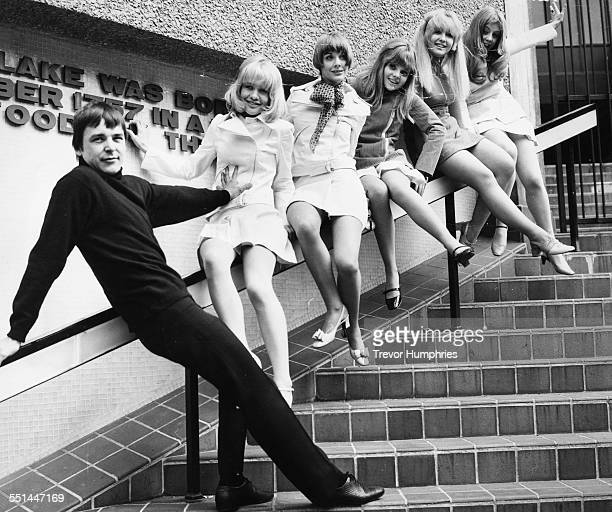 Portrait of actor Barry Evans with the five actresses who will play his girlfriends in the film 'Here We Go Round the Mulberry Bush' Judy Geeson...