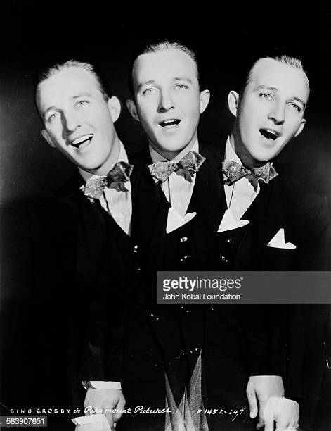 Portrait of actor Bing Crosby singing replicated three times for Paramount Pictures 1934