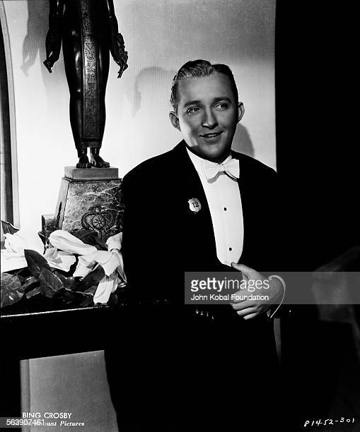 Portrait of actor Bing Crosby wearing a tuxedo for Paramount Pictures 1933