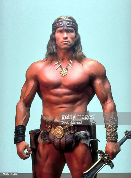 Portrait of Actor Bodybuilder Arnold Schwarzenegger in costume as Conan The Barbarian