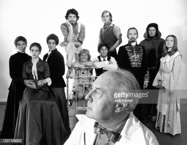 Portrait of actor director and founder of City Center's 'The Acting Company' John Houseman as he poses with his company June 19 1973 Pictured are...
