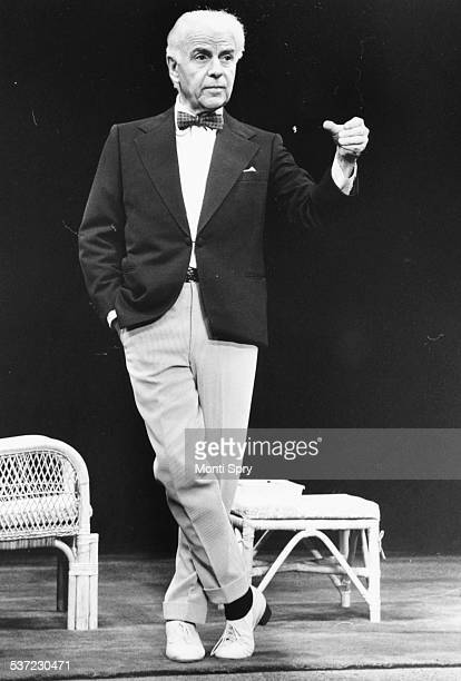 Portrait of actor Emlyn Williams on stage as 'Saki' at the Apollo Theatre London September 22nd 1977