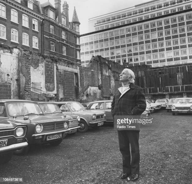 Portrait of actor Emlyn Williams standing within ruins near the Duchess Theatre London February 4th 1974