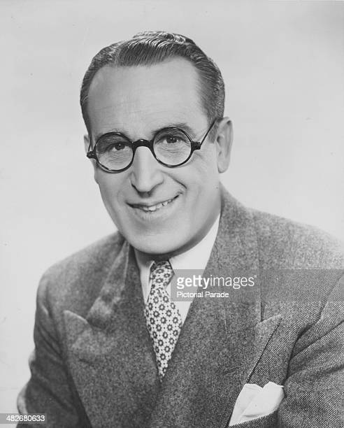 Portrait of actor Harold Lloyd wearing his trademark glasses circa 1940