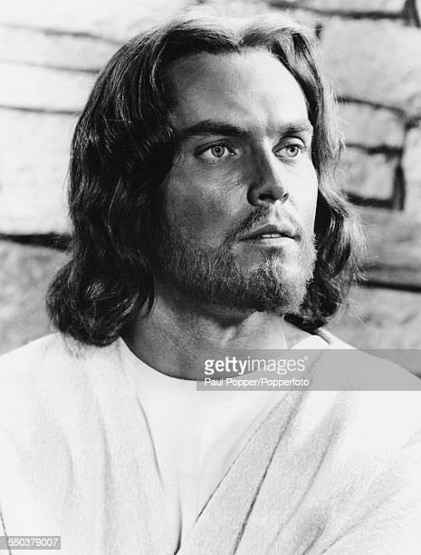 Portrait of actor Jeffrey Hunter as Jesus Christ in the film 'King of Kings' for MGM Studios in 1961