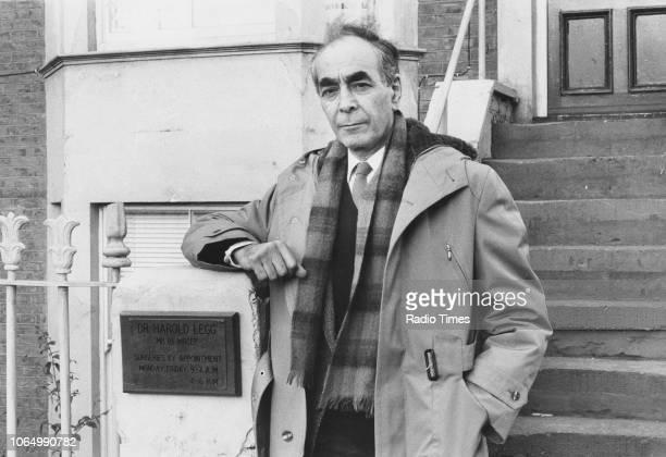 Portrait of actor Leonard Fenton on the set of the television soap opera 'EastEnders' November 21st 1984