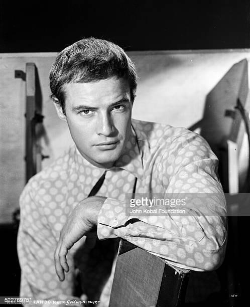 Portrait of actor Marlon Brando wearing a circlepatterned shirt 1952