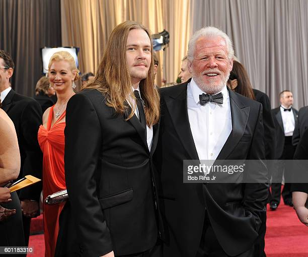 Portrait of actor Nick Nolte and his son Brawley as they pose together at the Hollywood Highland Center Theatre during the 84th Academy Awards...