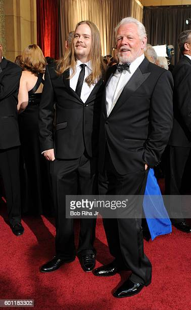 Portrait of actor Nick Nolte and his son Brawley as they pose together on the red carpet at the Hollywood Highland Center Theatre during the 84th...