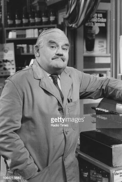 Portrait of actor Ronnie Barker on the set of the television sitcom 'Open All Hours' May 5th 1985