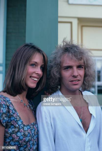 Portrait of actor/musicians Sandy Farina and Peter Frampton on the set of their film 'Sgt Pepper's Lonely Hearts Club Band' Los Angeles California...