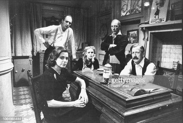 Portrait of actors Angela Richards Stephen Yardley Juliet HammondHill Ron Pember and Bernard Hepton photographed for Radio Times in connection with...