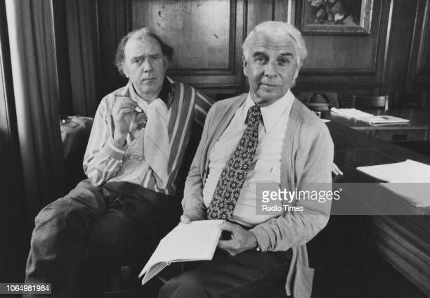 Portrait of actors Freddie Jones and Emlyn Williams photographed for Radio Times in connection with the BBC Radio 4 play 'The Wind of Heaven'...