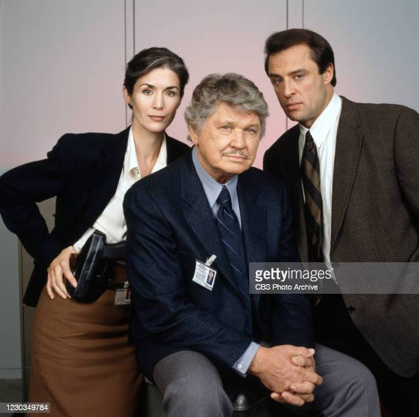 Portrait of actors, from left, Kim Weeks , Charles Bronson , Joe Penny in BREACH OF FAITH:A FAMILY OF COPS II. Original broadcast February 2, 1997.