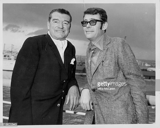 Portrait of actors Jack Hawkins and Peter O'Toole aboard a ship prior to their joint family trip to Acapulco June 8th 1967