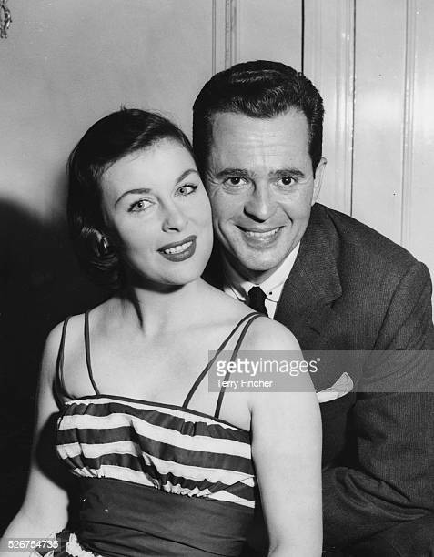 Portrait of actors Larry Parks and Constance Smith soon to be appear in the thriller 'Tiger by the Tail' pictured at the Mayfair Hotel London April...