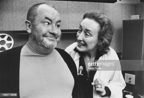 Portrait of actors Leo McKern and Elizabeth Spriggs photographed for Radio Times in connection with the BBC Radio drama 'Henry VI' March 2nd 1973