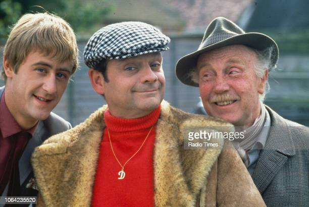 Portrait of actors Nicholas Lyndhurst David Jason and Lennard Pearce on the set of the BBC Television sitcom 'Only Fools and Horses' circa 1983