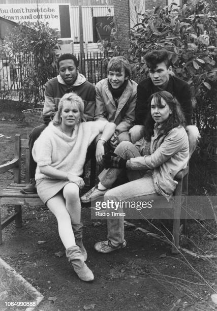 Portrait of actors Paul J Medford Adam Woodyatt David Scarboro Susan Tully and Letitia Dean on the set of the television soap opera 'EastEnders'...