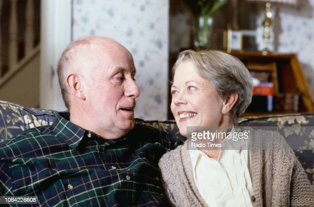 Portrait of actors Richard Wilson and Annette Crosbie on the set of the television sitcom 'One Foot in the Grave' during the filming of episode...