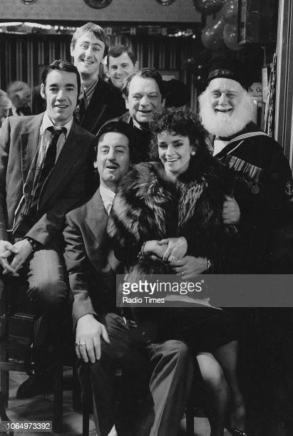 Portrait of actors Roger LloydPack Nicholas Lyndhurst Kenneth MacDonald David Jason Buster Merryfield Sue Holderness and John Challis on the set of...