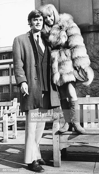 Portrait of actors Simon Williams and Belinda Carroll illustrating their huge height difference London February 10th 1969