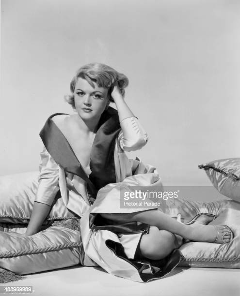 Portrait of actress Angela Lansbury wearing a silk robe circa 19501960