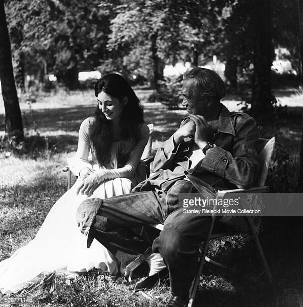 Portrait of actress Anjelica Huston and her father director and actor John Huston in a scene from the film 'Walk With Love' 1969