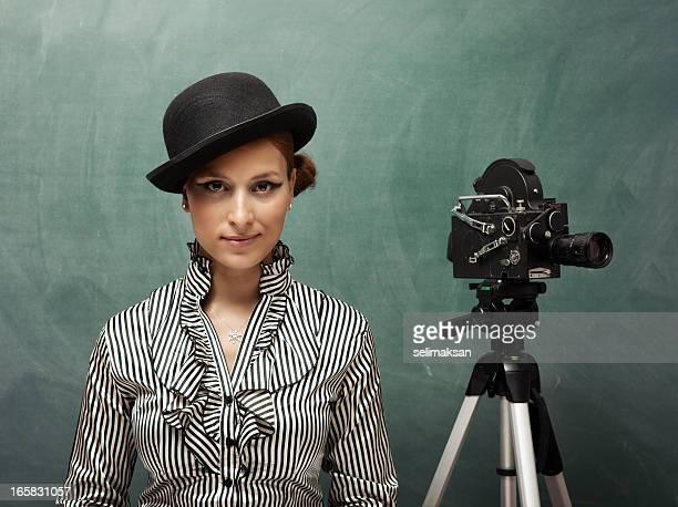Porträt der Schauspielerin hinter die Kamera.
