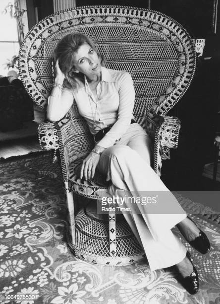 Portrait of actress Billie Whitelaw sitting in a wicker chair, photographed for Radio Times in connection with the television drama 'The Sextet -...