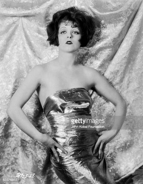 Portrait of actress Clara Bow wearing a strapless dress for Paramount Pictures 1926