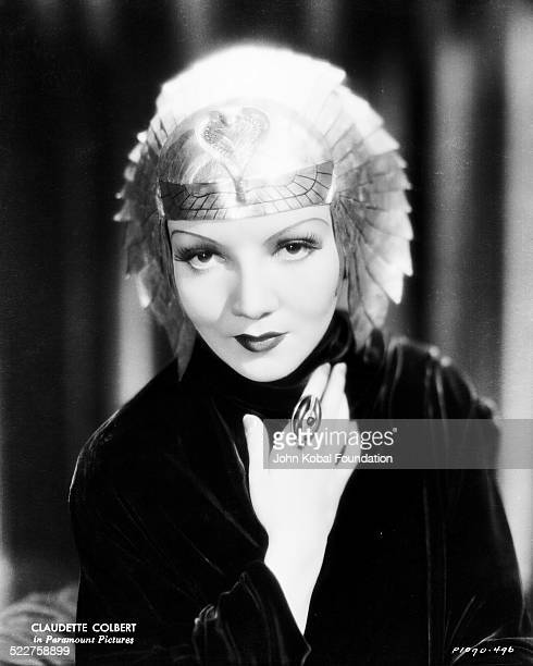 Portrait of actress Claudette Colbert in costume as she appears in the movie 'Cleopatra' for Paramount Pictures 1934
