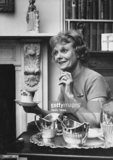 Portrait of actress Dame Anna Neagle drinking a cup of tea March 2nd 1973