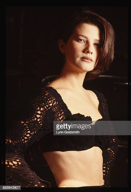 Portrait of actress Daphne Zuniga from the television series Melrose Place in a crop top