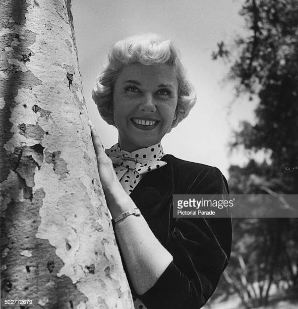 Portrait of actress Doris Day leaning against a tree trunk circa 1950