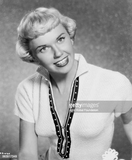 Portrait of actress Doris Day wearing a low cut blouse for Warner Bros Studios 1951
