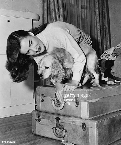 Portrait of actress Ella Raines attempting to close her packed suitcases with her pet dog circa 1943