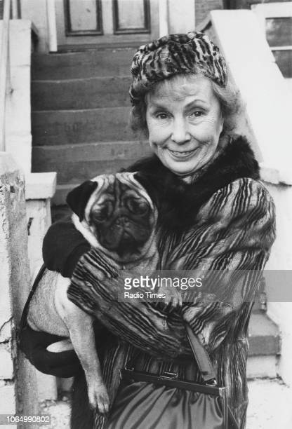 Portrait of actress Gretchen Franklin on the set of the television soap opera 'EastEnders' November 24th 1984