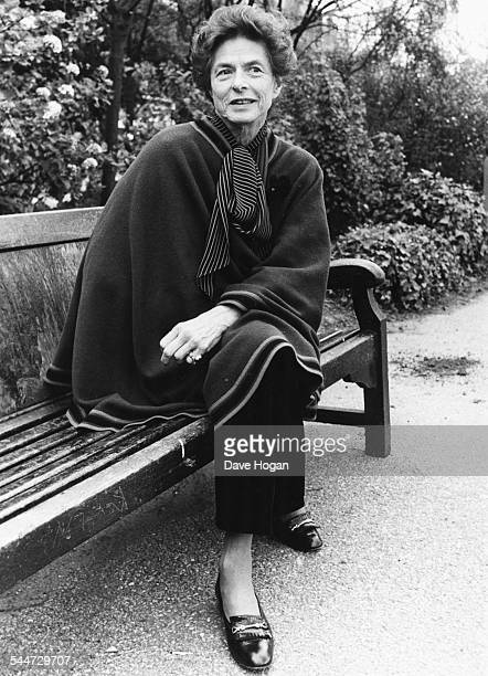 Portrait of actress Ingrid Bergman sitting on a park bench London April 20th 1982