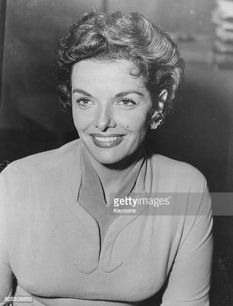Portrait of actress Jane Russell at a press reception prior to her appearance on the television show 'Sunday Night at the London Palladium' at ATV...
