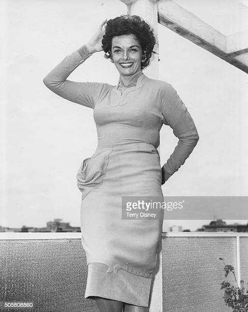 Portrait of actress Jane Russell at a press reception prior to her appearance on the television show 'Sunday Night at the London Palladium' London...