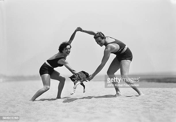 Portrait of actress Joan Crawford and her first husband actor Douglas Fairbanks Jr playing around on the beach with their dog for MGM Studios May...